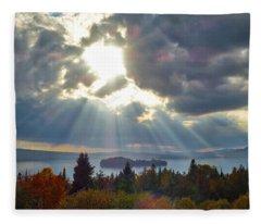 Sun Rays Over Rangeley Lake Fleece Blanket