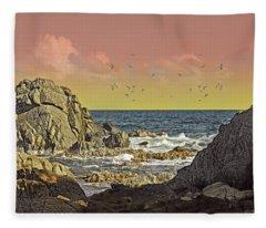 Sundown At Buck Fleece Blanket