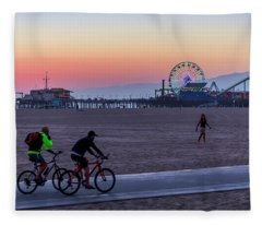 Sundown Ride To The Pier Fleece Blanket