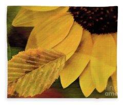 Sunflower And Leaves Fleece Blanket