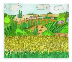 Sunflower French Countryside Fleece Blanket