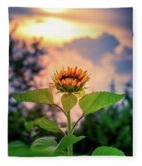 Sunflower Opening To The Light Fleece Blanket