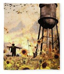 Sunflowers At Dusk Fleece Blanket