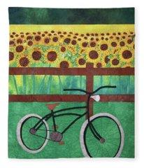 Sunflowers At Whitehall Farm Fleece Blanket