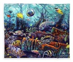 Sunken Tiki Reef Fleece Blanket