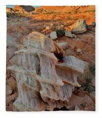 Sunlight Starts To Light Ornate Rock Fleece Blanket
