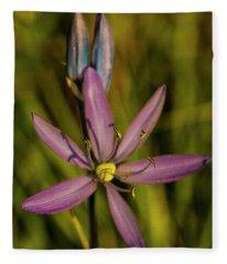Sunlit Camas Lily Fleece Blanket