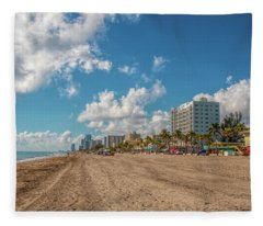 Sunny Day At Hollywood Beach Fleece Blanket