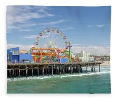 Sunny Day On The Santa Monica Pier Fleece Blanket