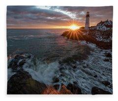 Sunrise At Portland Head Light Fleece Blanket