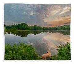 Sunrise At Ross Pond Fleece Blanket