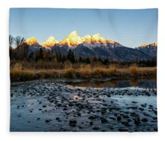 Sunrise At Schwabacher Landing Fleece Blanket