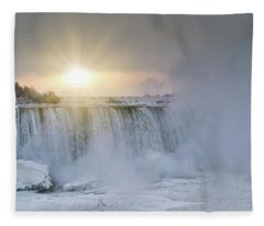 Sunrise In Niagara Falls Fleece Blanket