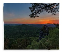 Sunrise In Saxon Switzerland Fleece Blanket