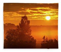Sunrise On The Canadian Prairies Fleece Blanket