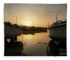 Sunrise Over Aberystwyht Harbour Fleece Blanket
