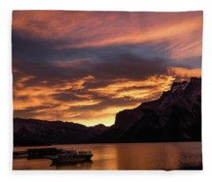 Sunrise Over Lake Minnewanka, Banff National Park, Alberta, Cana Fleece Blanket