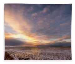 Sunrise Over The Stubble Fleece Blanket