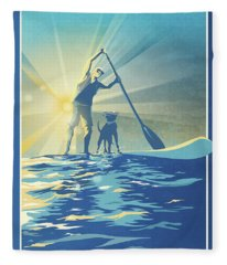 Sunrise Paddle Boarder Fleece Blanket