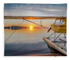 Sunrise Seaplane Fleece Blanket