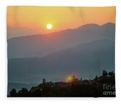 Sunset Above Mountain In Valley Himalayas Mountains Fleece Blanket