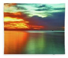 Sunset And Boat Fleece Blanket