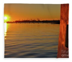 Sunset And Old Watermill Fleece Blanket