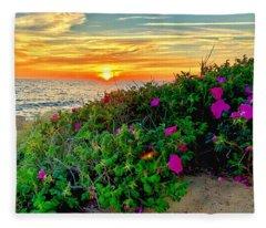 Sunset At Campground Beach  Fleece Blanket