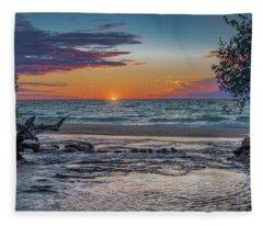 Sunset At Hurricane River Fleece Blanket
