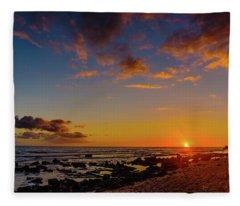 Sunset At Kailua Beach Fleece Blanket