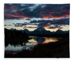 Sunset At Oxbow Bend Fleece Blanket