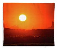 Sunset At Pointe Du Raz Fleece Blanket