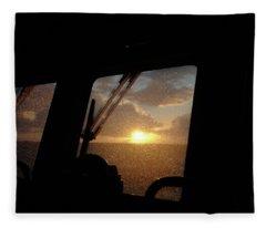 Sunset At Sea Fleece Blanket