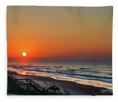 Sunset At Surf City Nc Fleece Blanket