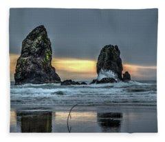 Sunset At The Canon Beach Fleece Blanket