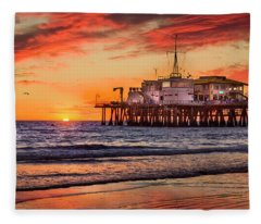 Sunset At The Pier Fleece Blanket