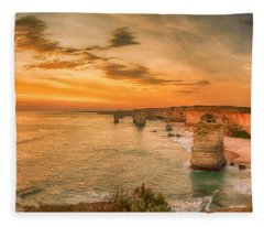Fleece Blanket featuring the photograph Sunset At The Twelve Apostles by Chris Cousins