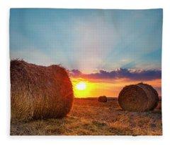 Sunset Bales Fleece Blanket