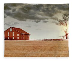 Sunset Barn Fleece Blanket