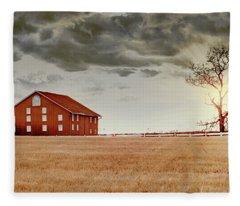 Sunset Barn Fleece Blanket