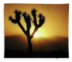 Sunset Behind Joshua Tree Fleece Blanket