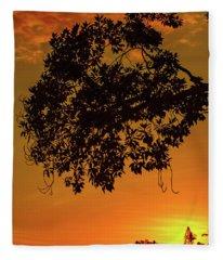 Sunset By The Pier Fleece Blanket