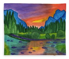 Sunset By The River Fleece Blanket