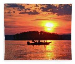 Sunset Fishermen, Smith Mountain Lake Fleece Blanket