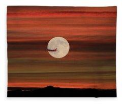 Sunset Flight With Full Moon Fleece Blanket