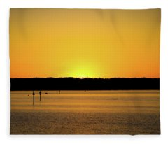 Sunset From National Harbor Fleece Blanket
