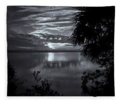 Sunset In Black And White Fleece Blanket
