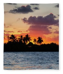 Sunset In The Florida Keys Fleece Blanket