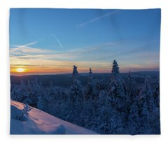 sunset in the Harz National Park, Germany Fleece Blanket