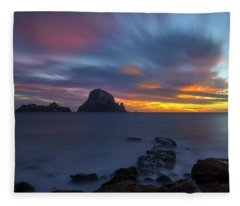 Sunset In The Mediterranean Sea With The Island Of Es Vedra Fleece Blanket